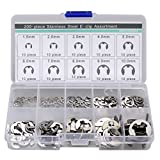 Generic 200pcs Stainless Steel E-clip Assortment 1.5 2 3 4 5 6 7 8 9 10 Mm Circlip