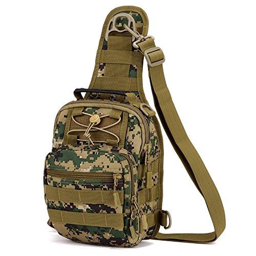 Outdoor militare petto tattico borsa a tracolla Sling petto zaino per campeggio escursioni, Black Jungle Digital