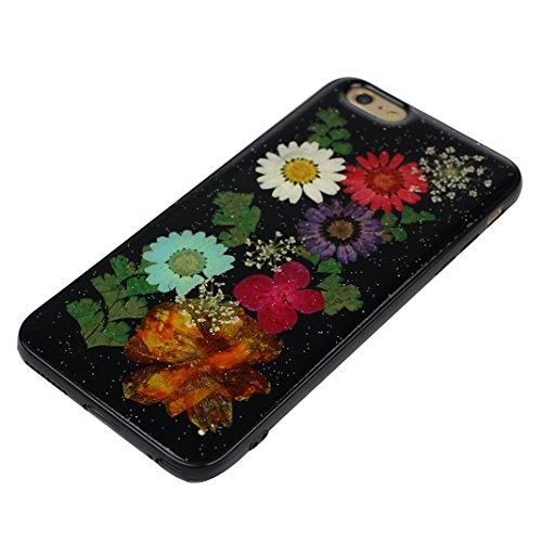 iPhone 6S Plus Noir Souple Coque avec Fleurs séchées, iPhone 6 Plus Arrière Etui, Moon mood® Ultra Mince Flexible TPU Silicone Etui Noir Coque avec Vraie Fleur pour Apple iPhone 6 Plus Téléphone Coqui Fleur-4