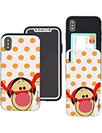 iPhone X Case DISNEY Cute Slim Slider Cover : Card Slot Shock Absorption Shockproof Dual Layer Protective Holder Bumper for [ iPhone X ] Case - Dot Tigger