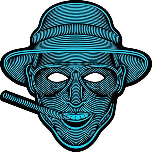 (Prevently Sprachsteuerung LED Leuchtende Maske Halloween Horror Maske Halloween Maske Sound Reaktiv Full Face LED Leuchten Maske Dance Rave EDM Plur Party (Colour A))