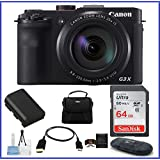 Canon PowerShot G3 X Digital Camera Pro Bundle, Includes: Camera Bag, 64GB SDXC Class 10 Memory Card, Card Reader, Memory Card Wallet, Mini Tripod, Lens Cleaning Kit, Spare Battery And Mini HDMI Cable