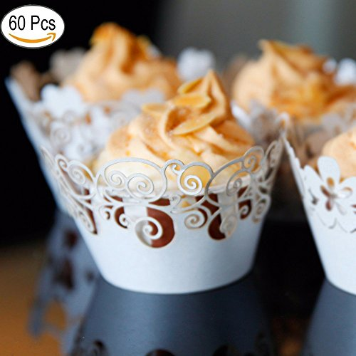 ic filigranen Backen Kuchen-Cups Vine Spitze Cupcake Wrappers Packungen Fällen Hochzeit Geburtstag Dekorationen, (Weiße) (Halloween Klasse Montage)