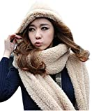 3in 1Unisex Kapuze Hoodie Strickmütze mit Ohrenklappen langer Schal Snood Packungen Winter Warm mit Pocket Handschuhe, Beidge