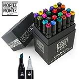 Moritz & Moritz 24er Set Twin-Marker Duo-Fasermaler - Intensive Farben