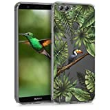 kwmobile Funda para Huawei Enjoy 7S / P Smart - Carcasa de [TPU] para móvil y diseño de tucán en [Verde/Negro/Transparente]