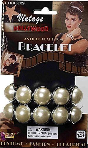 Damen 1920s Hollywood Starlet Kostüm Doppellagig Perlenarmband Vintage (Kostüm Hollywood Starlet)