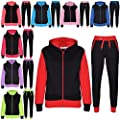 A2Z 4 Kids® Kinder Trainingsanzug Mädchen Jungen Designer Plain Kontrast Neon Rosa Vlies Kapuzenpullover Untere Jogginganzug Jogger Neu Alter 2-13 Jahre
