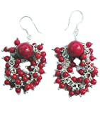 Red Coral beads Earrings on 925 sterling silver hooks