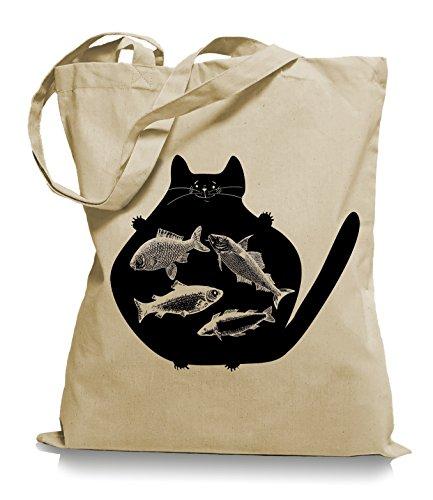Cat Fish Stoffbeutel | Katzen Fisch Tragetasche Fische Katze Sand