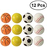 TOYMYTOY 12pcs Squeeze Toy Soccer Baseball Tennis Basketballs Kawaii Hand Pillow Toy Cell Phone Bag Strap Pendant
