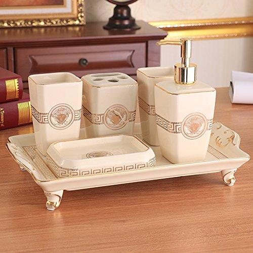 HJKY Badezimmer Zubehör Continental Badewanne 5 5 Stück Vanity Kit Keramik Pflegeprodukte bürsten Schale spülen Cup Kit, Medusa achteckigen 6 tlg.
