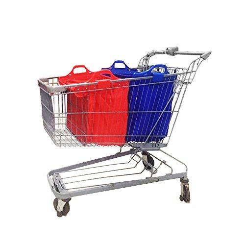 VAIIGO 2 Buste per Carrello della Spesa, Shopping Cart Bags,Borsa Spesa per Carrello Borse Carrelli Spesa Baggy Borse Tote, Vari Colori, 32 x 48 x 41cm (Blu/Rosso)