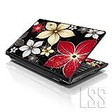"""LSS–Skin para ordenador portátil tienda LSS 15""""y 15,6pulgadas portátil notebook piel Sticker Cover Art vinilo para 13.3"""" 14""""15.6"""" 16""""HP Dell Lenovo Apple Asus Acer Compaq (libre 2muñeca incluye almohadilla) negro gris flores Hojas"""