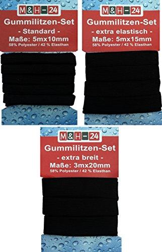 Gummiband schwarz 10-15-20-mm breit zum Nähen, Wäschegummi Gummizug Gummilitze Elastisches Elastic Band (13 m)