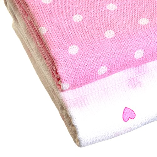 Zippy Bamboo Muslin Swaddle Blankets in Pretty Pink and White Patterns (2 Pack, Gift Set) - Bambù Passeggino