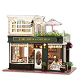 DIY Wooden Dolls House Handcraft Miniature Kit-Paris Coffee & Cake Shop Model with All furniture,English instruction