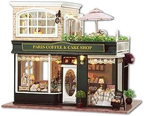 LEMOGO DIY Holzpuppen Haus Handwerk Miniatur Kit-Paris Coffee & Cake Shop Modell mit allen Möbeln, Englischunterricht