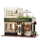LEMOGO Maison de poupées en bois bricolage Handcraft Miniature Kit-Paris café et gâteau Shop Model avec tous les meubles, l'enseignement en anglais