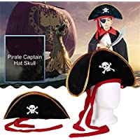 RoadRomao Pirata Capitán Sombrero Skull Crossbone Cap Disfraz Fiesta de Disfraces de Halloween