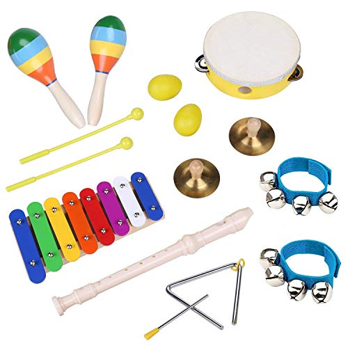 Percussion Instruments Set Music Toy for Toddlers - Smarkids Wooden Musical Instruments for Children with Backpack, Xylophone, Flute, Tambourine, Maracas Shaker Rattle Toys for Kids Boys and Girls