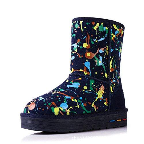fine scarpe di in spessore di Boots Snow di antiscivolo Navy uno stampati alla blue scarpe cotone caldo 7AYnTXw