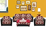 WSB Sunflower 11 Piece Cotton Sofa Cover Set - Maroon 65x57 CM