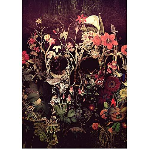 WYTTT Malen Nach Zahlen Anzahl DIY Dropshipping Schädel Rosen Blume Leinwand Hochzeit Dekoration Kunst Bild Geschenk 16X20 In Rahmenlose