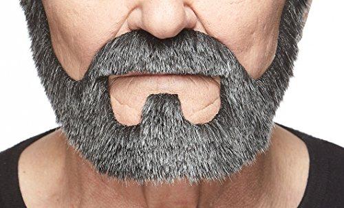 Salz & Pfeffer Kostüm - Mustaches Selbstklebende Neuheit On Bail Fälscher Bart Falsch Gesichtsbehaarung Kostümzubehör für Erwachsene Salz und Pfeffer Farbe