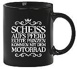 Scheiss aufs Pferd, Motorrad Kaffee Becher mit Motiv bedruckte Tasse Mug Kaffeebecher, Größe: onesize,Schwarz