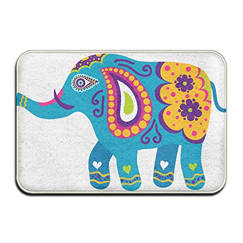 Elephant Mosaic ArtDoormat Entrance Mat Floor Mat Rug Indoor/Outdoor/Front Door/Bathroom Mats Rubber Non Slip