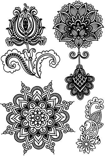 Tatuajes temporales de flores de loto mandalas y rosas para hombre y mujer, tatuaje temporal, 21 x 15 cm