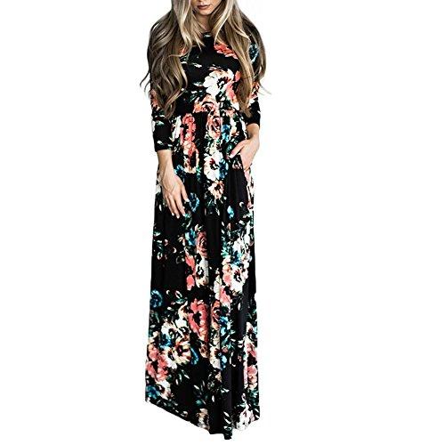 Lover-Beauty Kleider Damen Blumen Kleid Elegant Langarm Maxikleid Floral Print Böhmischen Strand Maxi Kleid Casual mit Taschen (Kleid Casual Maxi)