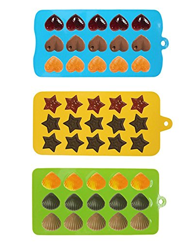 niceEshop(TM) 3pcs Chocolate and Candy Molds Silicone Mold & Ice Cube Trays, Hearts, Stars & Shells Shapes Molds for Making Homemade Chocolate, Candy, Gummy, Jelly, Green+Blue+Yellow