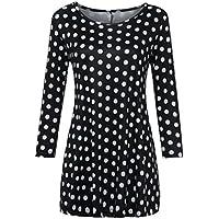 Auifor Moda para Mujer Casual Camisas con Estampado Floral 3/4 Mangas O-Cuello túnica Blusa Tops