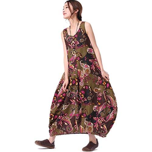 Stampa Yinxiang Liying-donna a forma di fiore senza maniche lunghe dell'abito regolare la cintura Lilla