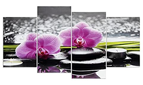 levandeo Wandbild 4 teilig 130x70cm - Spa Wellness rosa Orchideen
