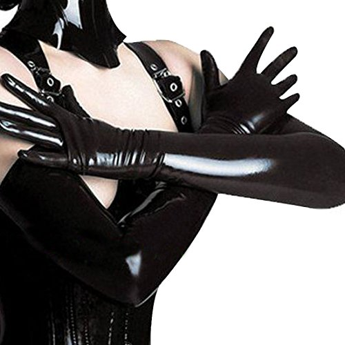 Tiaobug Gothic Lange Leder-Optik Handschuhe Wetlook In Schwarz Damen Metallic Handschuhe - 2