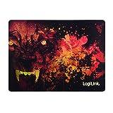 LogiLink ID0141 Ultra dünnes Glimmer Gaming Mauspad mit Spezialbeschichtung im Wolf Design dunkel rot