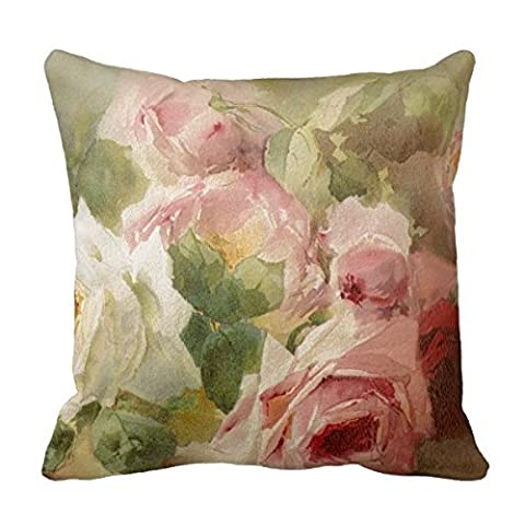 HuGo Feminine,Victorian Watercolor, Bouquet Of Roses, Pink And White Roses Pattern Pillow Covers Decorative Pillowcases 18 x 18 Decorative Cushion