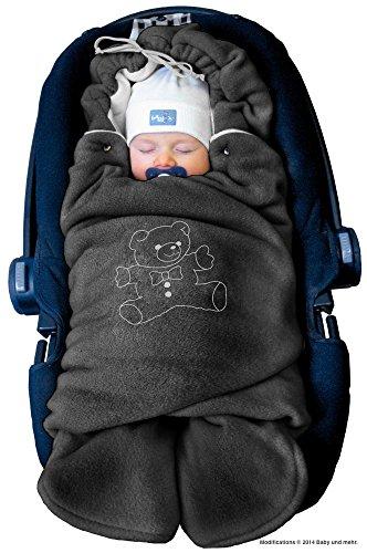 ByBoom® - Manta arrullo de invierno para bebé, es ideal para sillas de coche (p.ej. de las marcas Maxi-Cosi y Römer), para cochecitos de bebé, sillas de paseo o cunas; LA MANTA ARRULLO ORIGINAL CON EL OSO, Color:Antracita/Gris