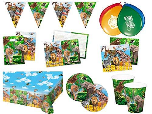 Folat 00253 - Safari Partypaket Dschungel Tiere 63-teilig Kinder Geburtstag Kinderparty