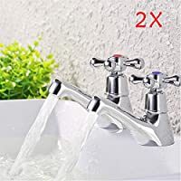 Quieting Hot And Cold Taps Pair Bathroom Basin Sink Chrome Faucet Twin Basin Taps