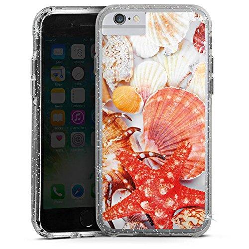 Apple iPhone 6 Bumper Hülle Bumper Case Glitzer Hülle Muscheln Seestern Beach Bumper Case Glitzer silber