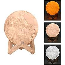 Lámpara de la luna de la impresión 3D 15CM, luz del tacto de la noche de la luna del LED control regulable luz de la luna de la noche tabla, 3 modos lámpara de mesita con el sostenedor de madera (5.9 inch)