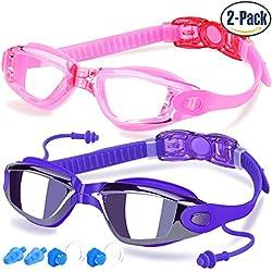 Gafas de Natación de COOLOO, Paquete de 2, Gafas de Natación para Adultos Hombres Mujeres Jóvenes Niños Niño, Gafas para Nadar Antiempañado y Anti Rayos UV, Impermeable, Lentes Espejo y Transparente, Rosa y Violáceo