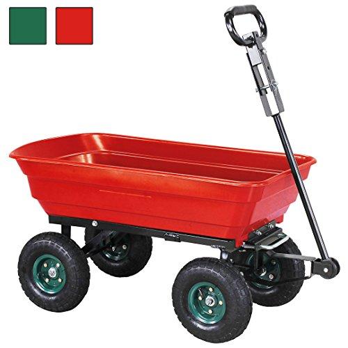 Miweba Bolllerwagen Kippwagen Schubkarre Gartenwagen Karre Handwagen Kippkarre 300Kg Traglast mit Kippfunktion 10 Zoll Luftreifen (Rot)