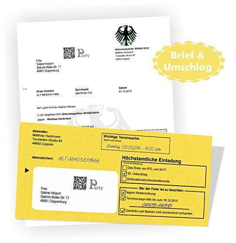 Einladungen für Geburtstag Silvester Weihnachtsfeieren Hochzeit amtliches Aussehen - wie echt - Brief & Umschlag mit eigenem Text
