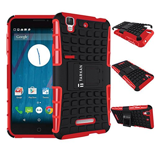 TARKAN Hard Armor Hybrid Rubber Bumper Flip Stand Rugged Back Case Cover For Micromax YU Yureka / Yureka Plus - RED