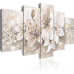 murando Quadro 200x100 cm Stampa su Tela in TNT XXL Immagini Moderni Murale Fotografia Grafica Decorazione da Parete 5 Pezzi Fiori b-A-0297-b-n